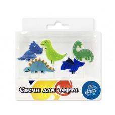 Свеча Фигура, Динозавры, Ассорти, 6 см, 5 шт.