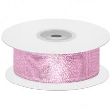 Лента декоративная (1,2 см*22,85 м) Мерцающий блеск, Розовый, Металлик, 1 шт.