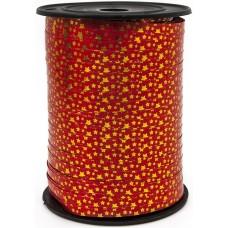 Лента (0,5 см*228,6 м) Золотые звезды, Красный, Металлик, 1 шт.