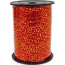 Лента (0,5 см*228,6 м) Золотые точки, Красный, Металлик, 1 шт.