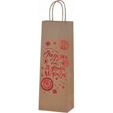 Пакет подарочный для вина, Подарок Дедушки Мороза (снежинки), Крафт, Металлик, 36*13*8 см, 1 шт.