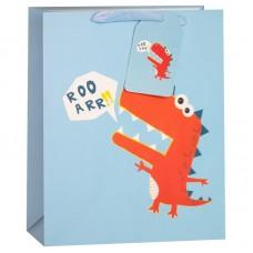 Пакет подарочный, Красный динозаврик, Голубой, 23*18*10 см, 1 шт.
