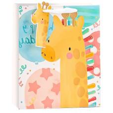 Пакет подарочный, Жирафик и яркие шарики, Металлик, 23*18*10 см, 1 шт.