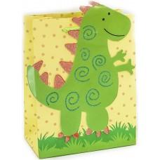 Пакет подарочный 3D, Динозаврик, Зеленый, 23*18*10 см, 1 шт.