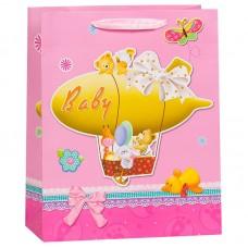 Пакет подарочный, Дирижабль с игрушками, Розовый, 32*26*12 см, 1 шт.