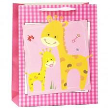 Пакет подарочный, Жирафики, Розовый, с блестками, 23*18*10 см, 1 шт.