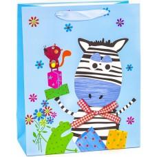Пакет подарочный, Веселая зебра, Голубой, 32*26*12 см, 1 шт.