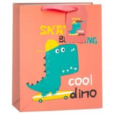 Пакет подарочный, Динозаврик-скейтбордист, Коралловый, 42*32*12 см, 1 шт.