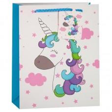 Пакет подарочный, Волшебный единорог и розовые облака, 32*26*13 см, 1 шт.