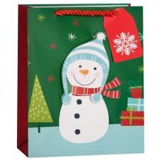 Пакет подарочный, Веселый снеговик, 32*26*13 см, 1 шт.
