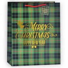 Пакет подарочный, В клетку (Счастливого Рождества!), Зеленый, 23*18*10 см, 1 шт.