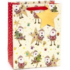 Пакет подарочный, Веселые Деды Морозы, Кремовый, Металлик, 23*18*10 см, 1 шт.
