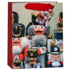 Пакет подарочный, Гвардия Щелкунчиков, Красный, с блестками, 23*18*10 см, 1 шт.