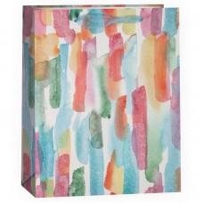 Пакет подарочный, Акварельные штрихи, с блестками, 23*18*10 см, 1 шт.