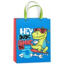 Пакет подарочный 3D, Динозаврик-скейтер, Синий, 23*18*10 см, 1 шт.