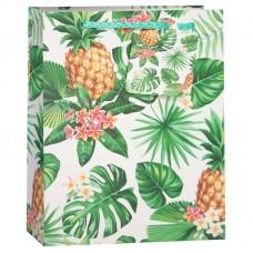 Пакет подарочный, Ананасы и тропические листья, Белый, 23*18*10 см, 1 шт.