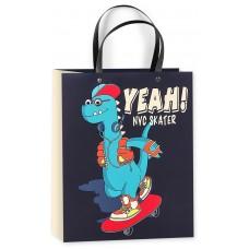 Пакет подарочный 3D, Модный динозавр-скейтер, Черный, 23*18*10 см, 1 шт.