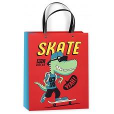 Пакет подарочный 3D, Динозавр на скейте, Красный, 23*18*10 см, 1 шт.