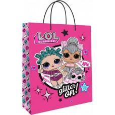 Пакет подарочный, Кукла ЛОЛ (LOL), Модные подружки, Розовый, 31*22*10 см, 1 шт.