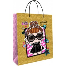 Пакет подарочный, Кукла ЛОЛ (LOL), Принцесса, Золото, 23*18*10 см, 1 шт.