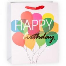 Пакет подарочный, С Днем Рождения (воздушные шарики), Белый, 32*26*12 см, 1 шт.
