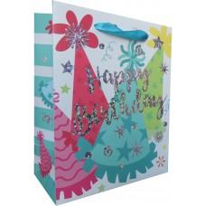 Пакет подарочный, С Днем Рождения (колпачки), 23*18*10 см, 1 шт.