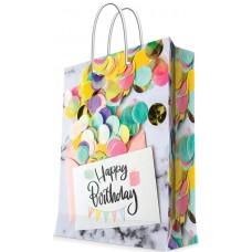 Пакет подарочный, Happy Birthday (конфетти), 23*18*10 см, 1 шт.