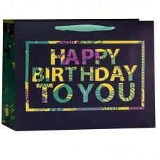 Пакет подарочный, С Днем Рождения (разноцветные буквы), Черный/Зеленый, 26*31*12 см, 1 шт.