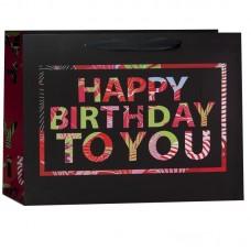 Пакет подарочный, С Днем Рождения (разноцветные буквы), Черный/Красный, 26*31*12 см, 1 шт.