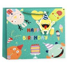 Пакет подарочный 3D, С Днем Рождения! (веселые монстрики), Зеленый, 19*24*10 см, 1 шт.