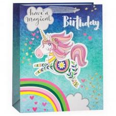 Пакет подарочный, Волшебного Дня Рождения (единорог), с блестками, 32*26*12 см, 1 шт.