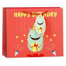 Пакет подарочный 3D, С Днем Рождения! (монстрик c подарком), Красный, 19*24*10 см, 1 шт.