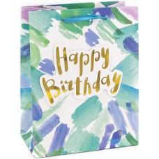 Пакет подарочный, С Днем Рождения (акварельные штрихи), Бирюзовый, 23*18*10 см, 1 шт.