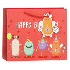 Пакет подарочный 3D, С Днем Рождения! (яркие монстрики), Красный, 19*24*10 см, 1 шт.