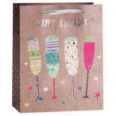 Пакет подарочный, С Днем Рождения (бокалы), Крафт, 23*18*10 см, 1 шт.