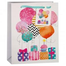 Пакет подарочный, Воздушные шарики и подарки, Белый, с блестками, 32*26*13 см, 1 шт.