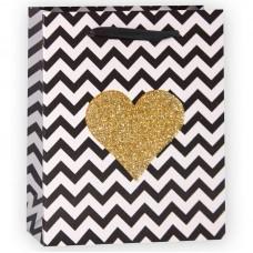 Пакет подарочный, Золотое сердце (зигзаги), Черный/Белый, с блестками, 15*12*6 см, 1 шт.