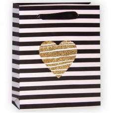 Пакет подарочный, Золотое сердце (полосы), Черный/Белый, с блестками, 15*12*6 см, 1 шт.