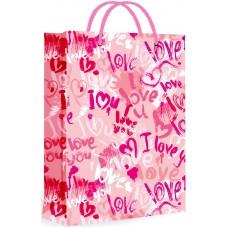Пакет подарочный, I Love (сердечки граффити), Розовый, с блестками, 23*18*10 см, 1 шт.