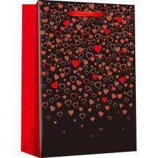 Пакет подарочный, Конфетти сердец, Черный, Металлик, 23*18*10 см, 1 шт.