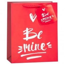 Пакет подарочный, Надпись мелом (сердечко), Красный, 23*18*10 см, 1 шт.