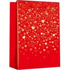Пакет подарочный, Конфетти сердец, Красный, Металлик, 32*26*12 см, 1 шт.