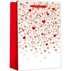 Пакет подарочный, Конфетти сердец, Белый, Металлик, 23*18*10 см, 1 шт.