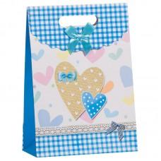 Пакет подарочный, Сердца, Голубой, 27*19*9 см, 1 шт.