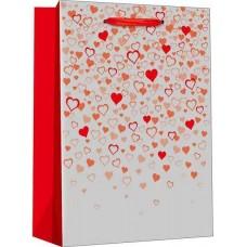 Пакет подарочный, Конфетти сердец, Серебро, Металлик, 32*26*12 см, 1 шт.