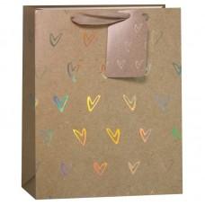 Пакет подарочный, Золотые сердца, Крафт, 32*26*13 см, 1 шт.