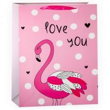 Пакет подарочный, Люблю тебя (фламинго), Розовый, 42*31*12 см, 1 шт.