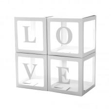 Набор коробок для воздушных шаров, Love, Белые грани, Прозрачный, 30*30*30 см, в упаковке 4 шт.