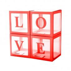 Набор коробок для воздушных шаров, Love, Красные грани, Прозрачный, 30*30*30 см, в упаковке 4 шт.