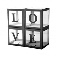 Набор коробок для воздушных шаров, Love, Черные грани, Прозрачный, 30*30*30 см, в упаковке 4 шт.